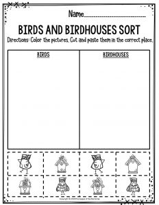 Preschool Worksheets Birds & Birdhouses Sort