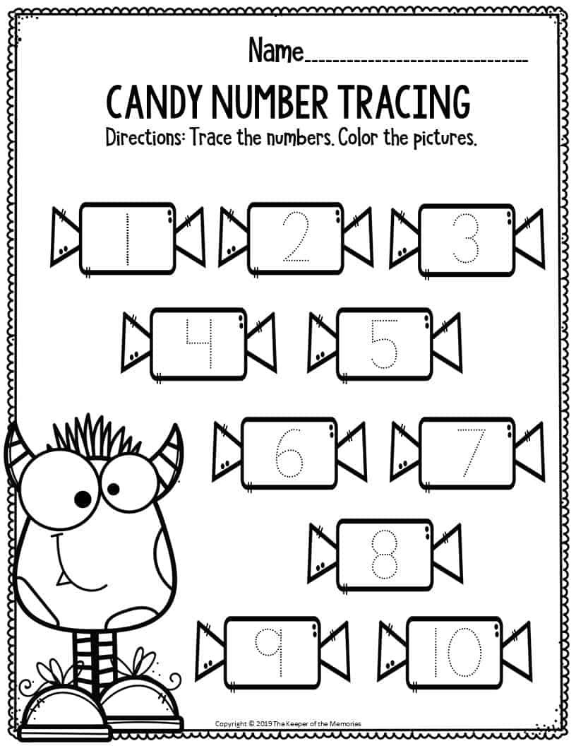 Preschool Worksheets Candy Number Tracing - The Keeper of ...