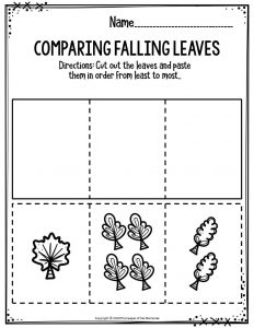 Preschool Worksheets Comparing Falling Leaves