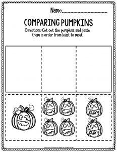 Preschool Worksheets Comparing Pumpkins