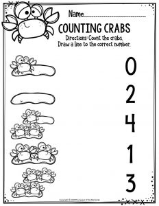 Preschool Worksheets Counting Crabs