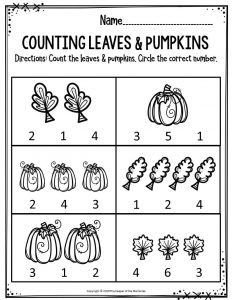 Preschool Worksheets Counting Leaves & Pumpkins
