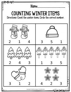 Winter Themed Worksheets For Kindergarten