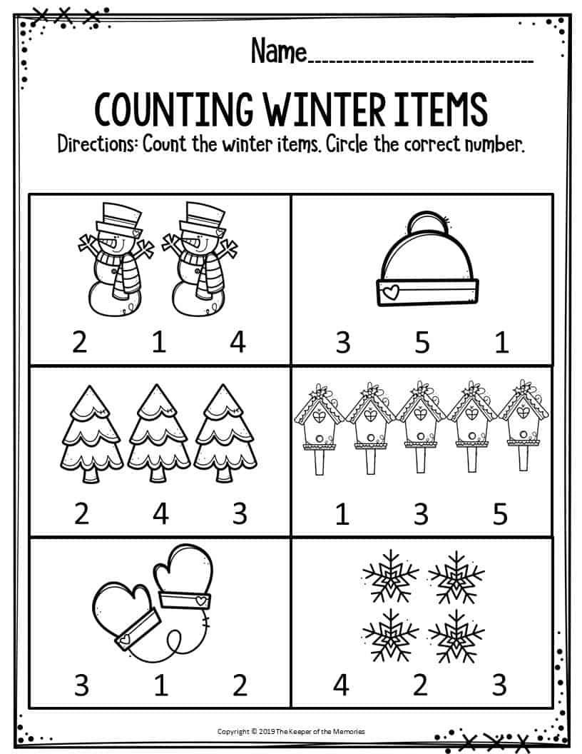 Free Winter Worksheets For Kindergarten
