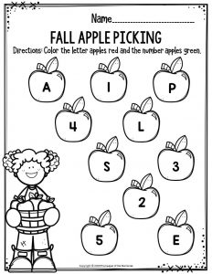 Preschool Worksheets Fall Apple Picking