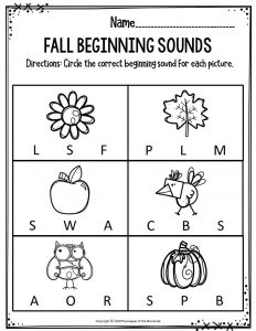 Preschool Worksheets Fall Beginning Sounds