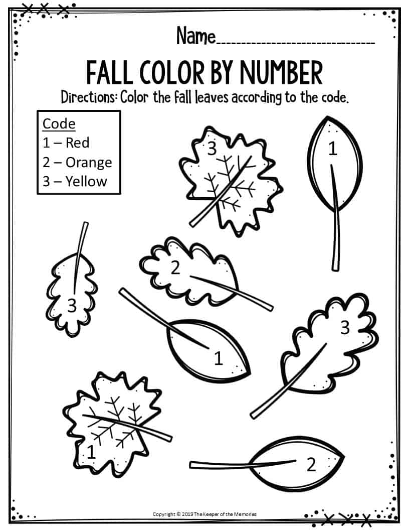 Preschool Worksheets Fall Color By Number Leaves - The ...