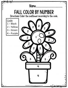Preschool Worksheets Fall Color By Number Sunflower