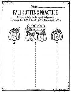 Preschool Worksheets Fall Cutting Practice
