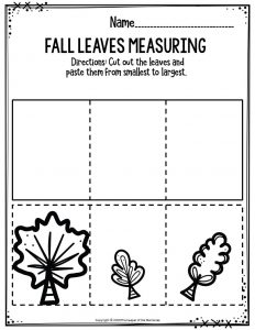 Preschool Worksheets Fall Leaves Measuring