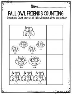 Preschool Worksheets Fall Owl Friends Counting