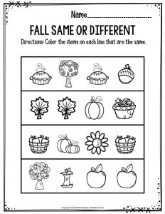 Preschool Worksheets Fall Same Or Different