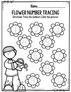 Preschool Worksheets Flower Number Tracing