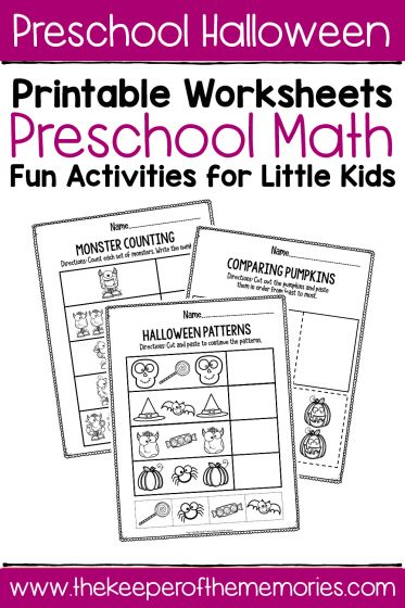 Preschool Worksheets Halloween Math with text: Preschool Halloween Printable Worksheets Preschool Math Fun Activities for Little Kids