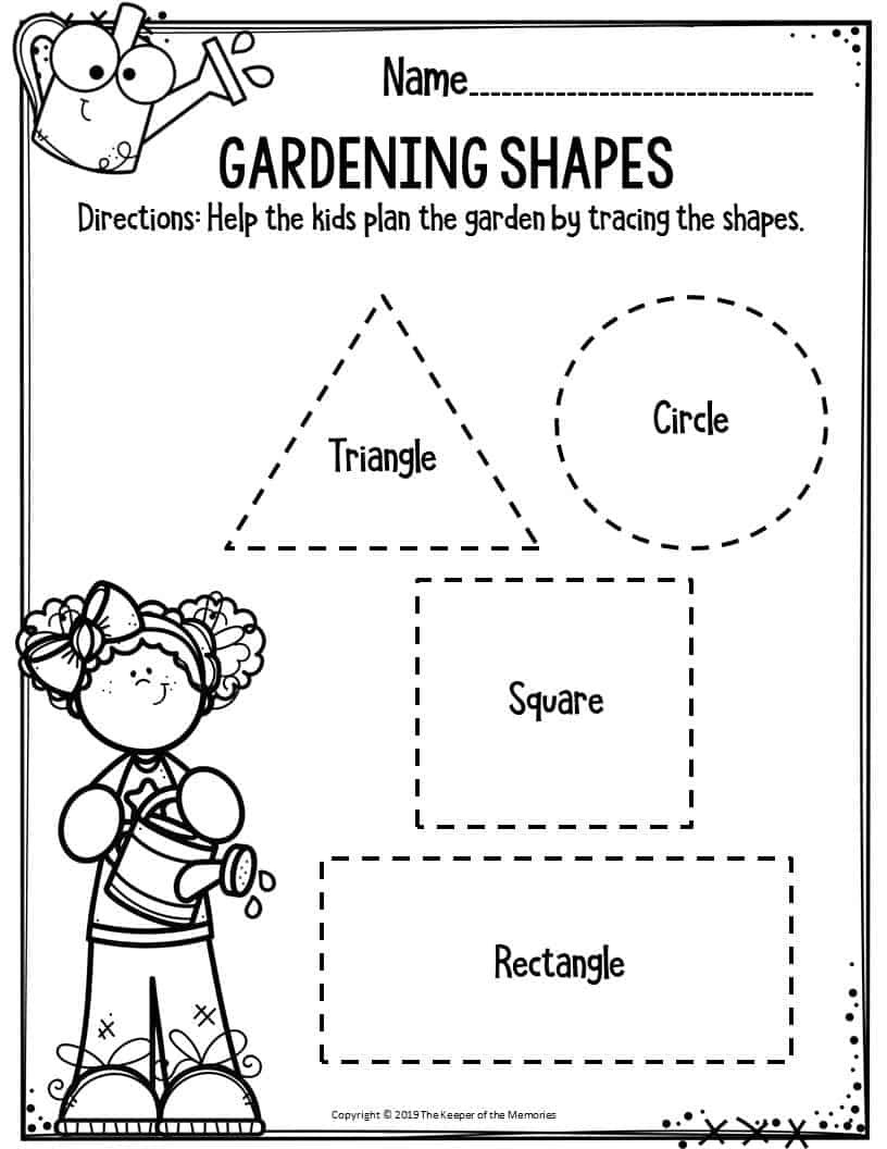 Preschool Worksheets Gardening Shapes - The Keeper of the ...