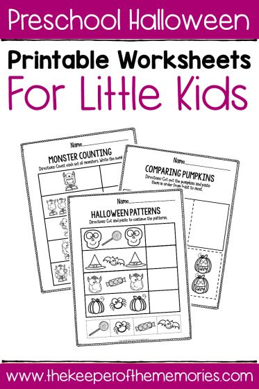 Preschool Worksheets Halloween Math with text: Preschool Halloween Printable Worksheets for Little Kids