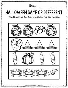 Preschool Worksheets Halloween Same Or Different