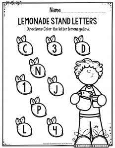 Preschool Worksheets Lemonade Stand Letters