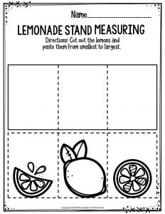 Preschool Worksheets Lemonade Stand Measuring