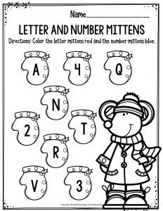 Preschool Worksheets Letter & Number Mittens
