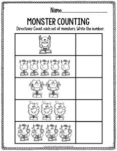 Preschool Worksheets Monster Counting