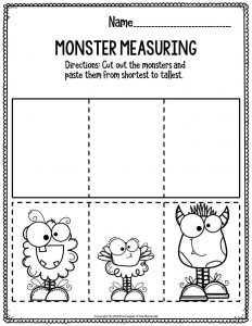 Preschool Worksheets Monster Measuring