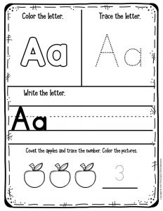 Preschool Worksheets My First Alphabet Learning Notebook Aa