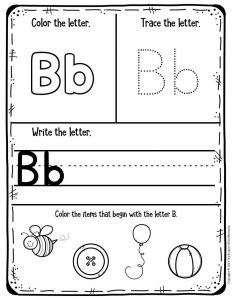 Preschool Worksheets My First Alphabet Learning Notebook Bb