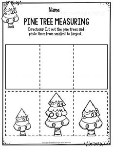 Preschool Worksheets Pine Tree Measuring