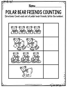 Preschool Worksheets Polar Bear Friends Counting