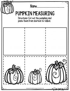 Preschool Worksheets Pumpkin Measuring
