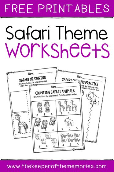 Preschool Worksheets Safari Free Printables with text: Free Printables Safari Theme Worksheets