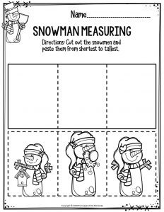 Preschool Worksheets Snowman Measuring