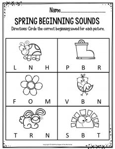 Preschool Worksheets Spring Beginning Sounds