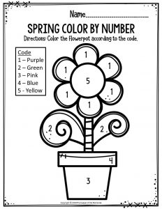 Preschool Worksheets Spring Color By Number Flowerpot