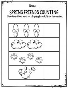 Preschool Worksheets Spring Friends Counting