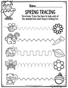 Preschool Worksheets Spring Tracing