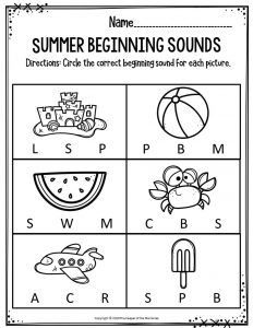 Preschool Worksheets Summer Beginning Sounds