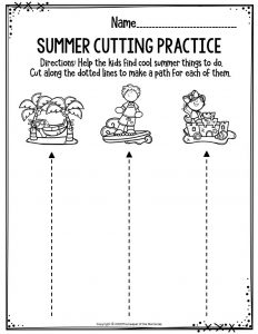 Preschool Worksheets Summer Cutting Practice