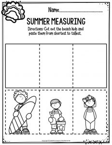 Preschool Worksheets Summer Measuring