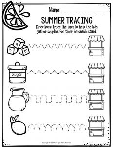 Preschool Worksheets Summer Tracing