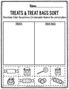 Preschool Worksheets Treats & Treat Bags Sort