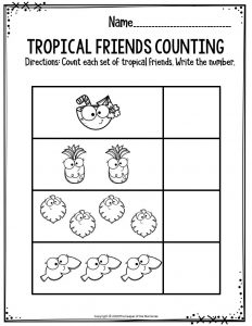 Preschool Worksheets Tropical Friends Counting