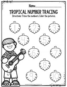 Preschool Worksheets Tropical Number Tracing