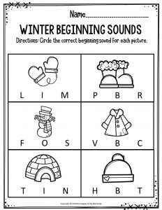 Preschool Worksheets Winter Beginning Sounds