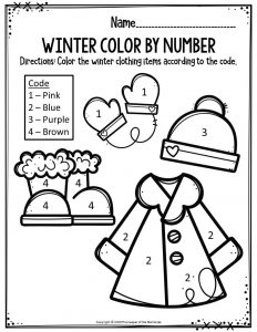 Preschool Worksheets Winter Color By Number Clothing Items The Keeper Of The Memories