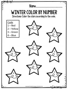 Preschool Worksheets Winter Color By Number Stars