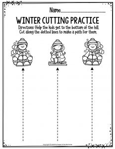 Preschool Worksheets Winter Cutting Practice