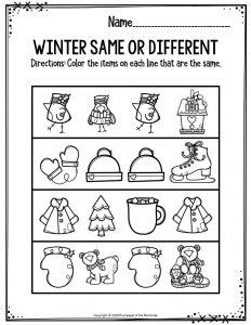 Preschool Worksheets Winter Same Or Different