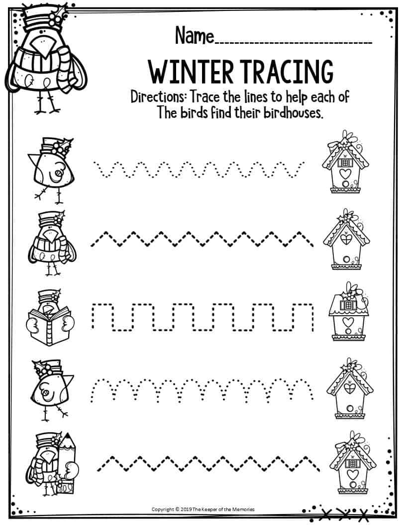 Preschool Worksheets Winter Tracing - The Keeper of the ...